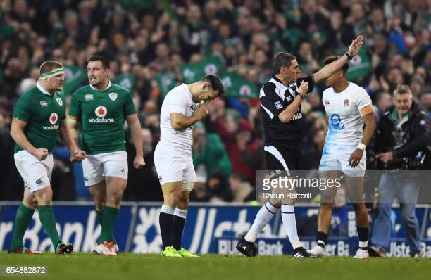 A dejected Danny Care of England reacts as Referee Jerome Garces of France blows the final whistle on England's 139 defeat during the RBS Six Nations...