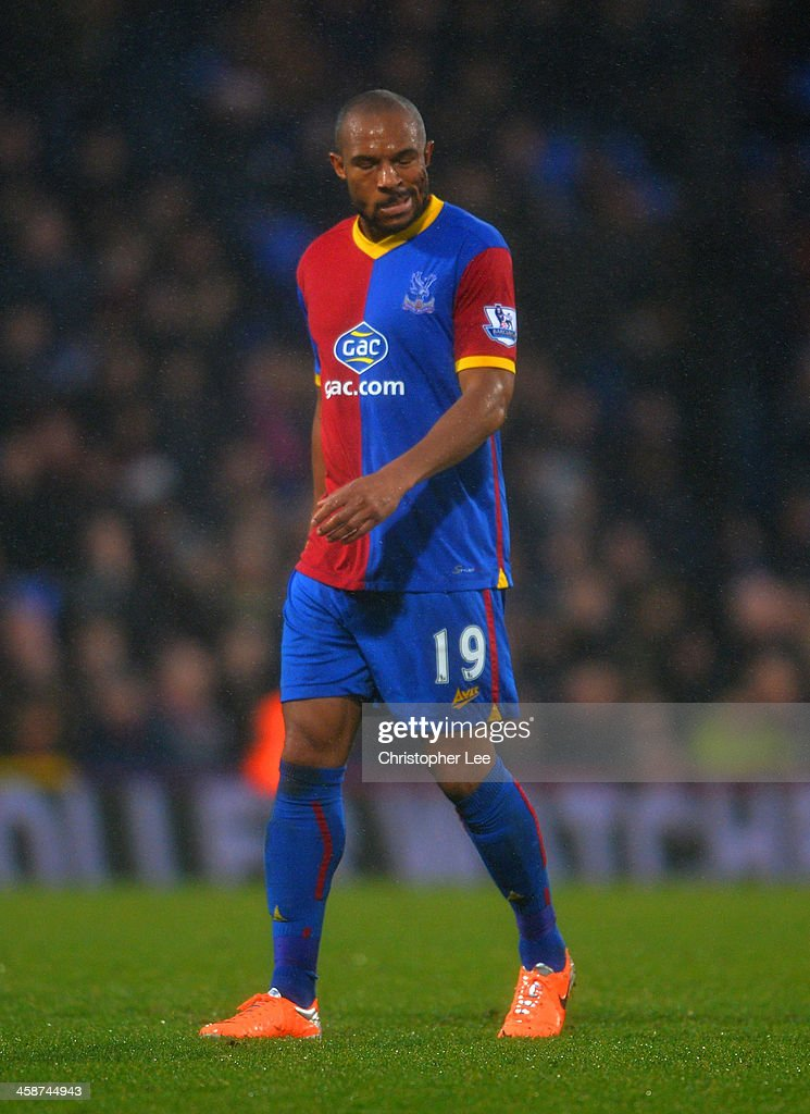 A dejected <a gi-track='captionPersonalityLinkClicked' href=/galleries/search?phrase=Danny+Gabbidon&family=editorial&specificpeople=609352 ng-click='$event.stopPropagation()'>Danny Gabbidon</a> of Crystal Palace during the Barclays Premier League match between Crystal Palace and Newcastle United and Selhurst Park on December 21, 2013 in London, England.