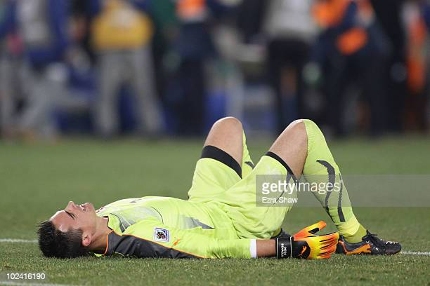Dejected Diego Benaglio of Switzerland after a goalless draw and elimination from the tournament during the 2010 FIFA World Cup South Africa Group H...