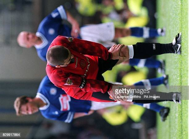 A dejected Eric Cantona during today's FA Carling Premiership match between Manchester United and Leicester Cityat Filbert St Picture LAURENCE...