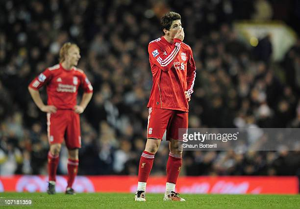A dejected Fernando Torres of Liverpool after defeat in the Barclays Premier League match between Tottenham Hotspur and Liverpool at White Hart Lane...