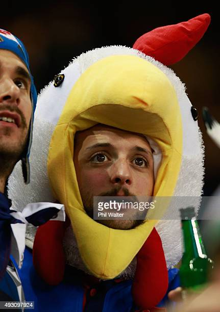 A dejected France fan watches on during the 2015 Rugby World Cup Quarter Final match between New Zealand and France at the Millennium Stadium on...