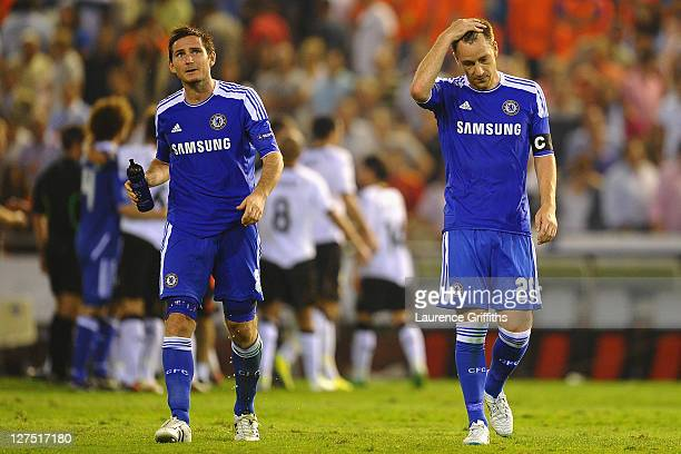 Dejected Frank Lampard and John Terry of Chelsea after a draw in the UEFA Champions League Group E match between Valencia CF and Chelsea at the...
