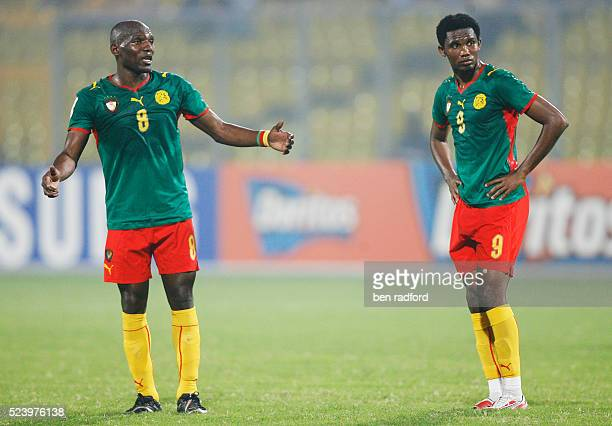 A dejected Geremi and Samuel Eto'o of Cameroon during the Group C African Cup of Nations 2008 match between Egypt and Cameroon at the Baba Yara...