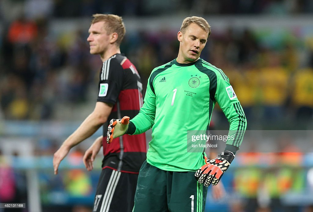 A dejected Germany goalkeeper Manuel Neuer after conceding a goal to Oscar during the 2014 FIFA World Cup Brazil Semi Final match between Brazil and Germany at The Estadio Mineirao on July 08, 2014 in Brelo Horizonte, Brazil.