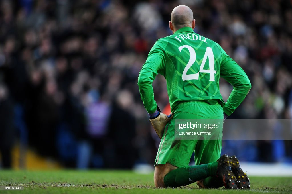Dejected goalkeeper Brad Friedel of Spurs looks on after conceding a second goal during the FA Cup with Budweiser Fourth Round match between Leeds United and Tottenham Hotspur at Elland Road on January 27, 2013 in Leeds, England.