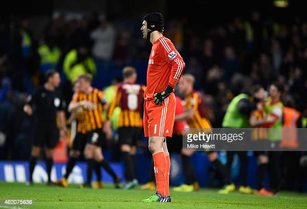 Dejected goalkeeper Petr Cech of Chelsea looks on after conceding a fourth goal during the FA Cup Fourth Round match between Chelsea and Bradford...