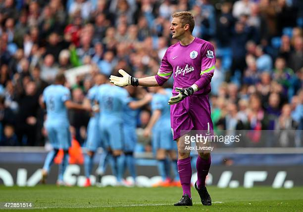 Dejected goalkeeper Robert Green of QPR reacts after conceding the opeing goal to Sergio Aguero of Manchester City during the Barclays Premier League...