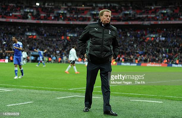 Dejected Harry Redknapp of Tottenham Hotspur after defeat in the FA Cup with Budweiser Semi Final match between Tottenham Hotspur and Chelsea at...