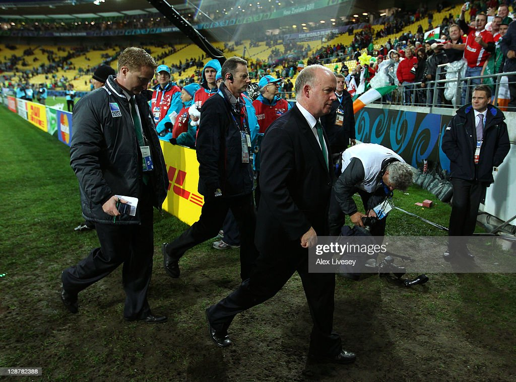 Dejected Ireland coach Declan Kidney walks off the pitch following his team's 22-10 defeat during quarter final one of the 2011 IRB Rugby World Cup between Ireland v Wales at Wellington Regional Stadium on October 8, 2011 in Wellington, New Zealand.