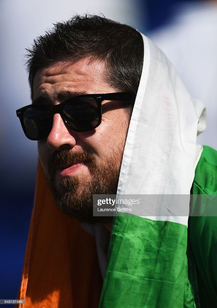 A dejected Ireland supporter is seen after the UEFA EURO 2016 round of 16 match between France and Republic of Ireland at Stade des Lumieres on June 26, 2016 in Lyon, France.