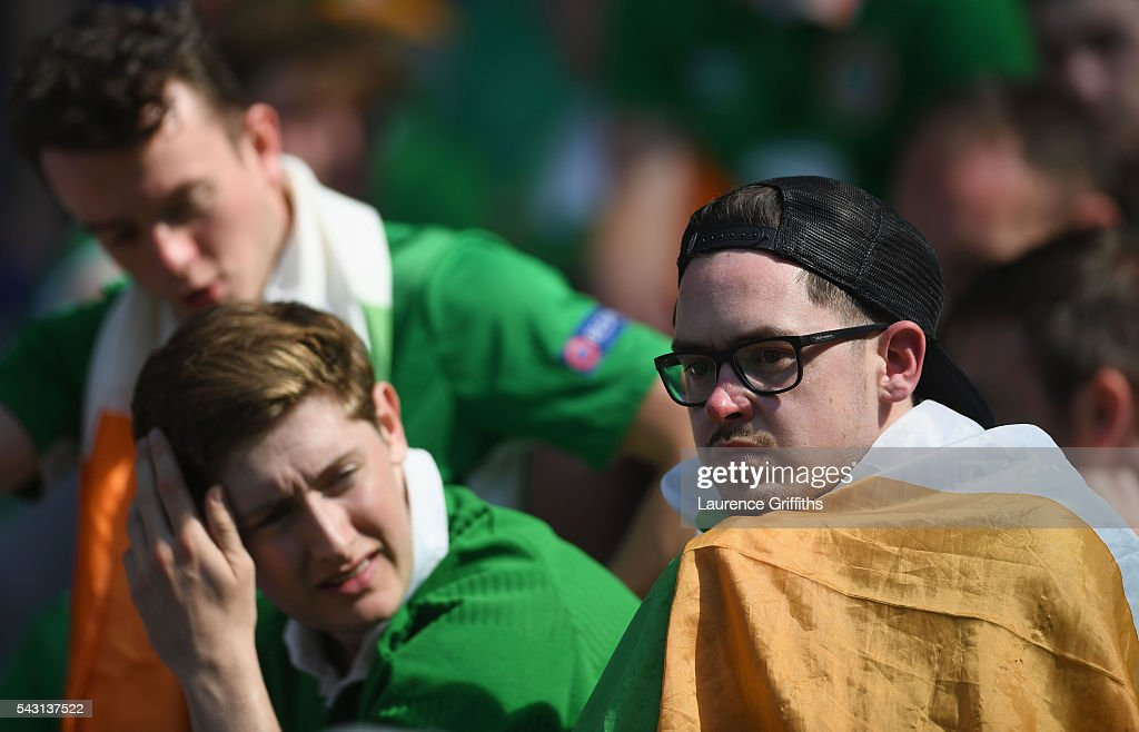 Dejected Ireland supporters are seen after the UEFA EURO 2016 round of 16 match between France and Republic of Ireland at Stade des Lumieres on June 26, 2016 in Lyon, France.