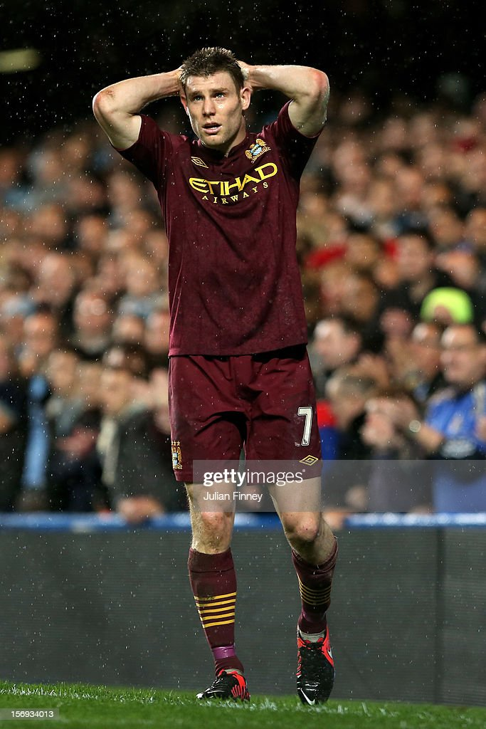 A dejected James Milner of Manchester City reacts after a missed shot on goal during the Barclays Premier League match between Chelsea and Manchester City at Stamford Bridge on November 25, 2012 in London, England.