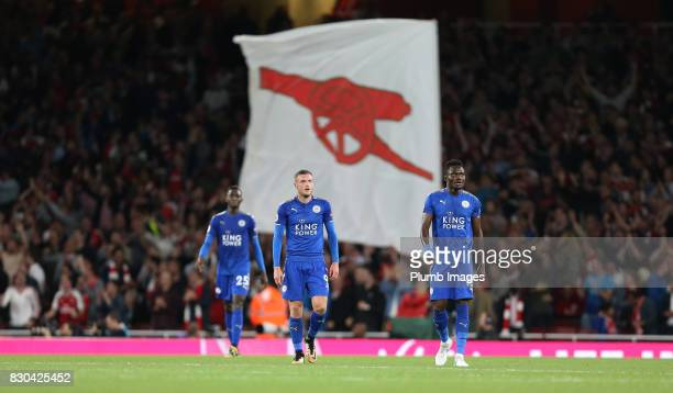 Dejected Jamie Vardy Daniel Amartey and Wilfred Ndidi of Leicester City after Arsenal score during the Premier League match between Arsenal and...