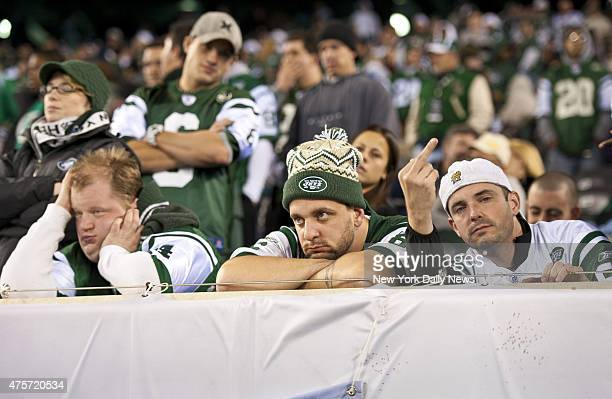 Dejected Jets fans 4th quarter of New York Jets vs New England Patriots at MetLife Stadium