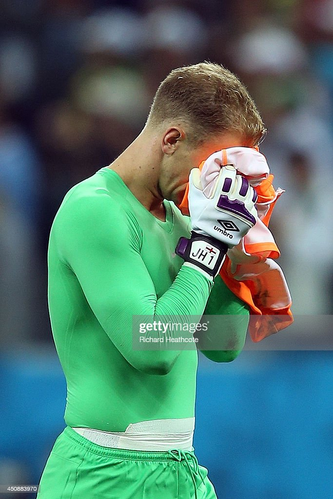 A dejected Joe Hart of England reacts after being defeated by Uruguay 2-1 during the 2014 FIFA World Cup Brazil Group D match between Uruguay and England at Arena de Sao Paulo on June 19, 2014 in Sao Paulo, Brazil.