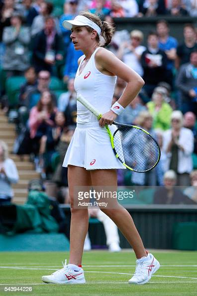 A dejected Johanna Konta of Great Britain reacts during the Ladies Singles second round match against Eugenie Bouchard of Canada on day four of the...