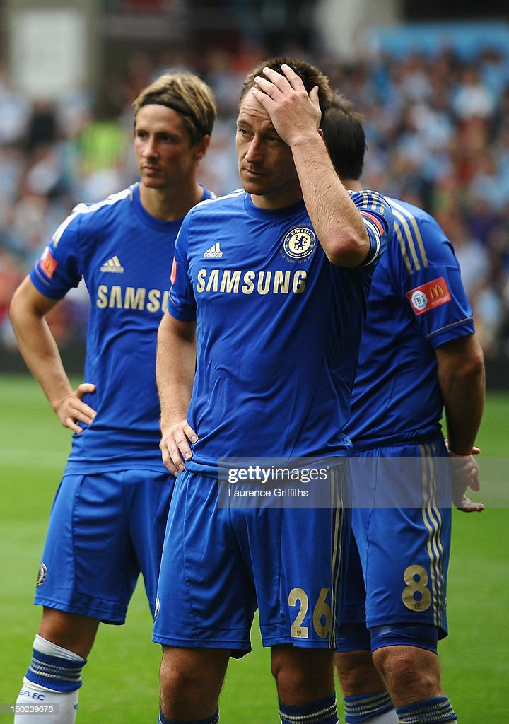 Dejected John Terry of Chelsea after defeat in the FA Community Shield match between Manchester City and Chelsea at Villa Park on August 12, 2012 in Birmingham, England.