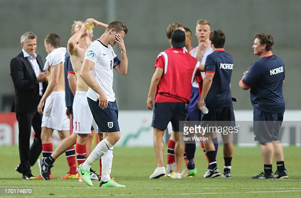 A dejected Jordan Henderson of England after the UEFA European U21 Championships Group A between England and Norway at HaMoshava Stadium on June 8...