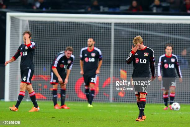 A dejected Julian Brandt of Bayer Leverkusen reacts after conceding the fourth goal during the UEFA Champions League Round of 16 first leg match...
