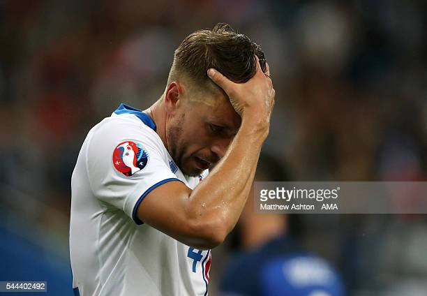 A dejected Kari Arnason of Iceland during the UEFA Euro 2016 quarter final match between France and Iceland at Stade de France on July 3 2016 in...