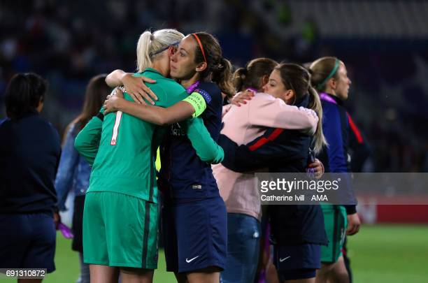 A dejected Katarzyna Kiedrzynek of PSG is consoled by Sabrina Delannoy of PSG during the UEFA Women's Champions League Final match between Lyon and...