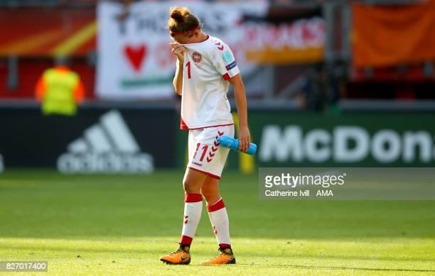 A dejected Katrine Veje of Denmark Women the UEFA Women's Euro 2017 final match between Denmark and Netherlands at De Grolsch Veste Stadium on August...