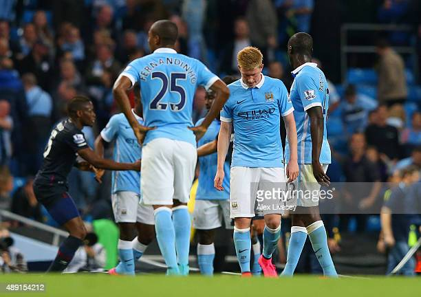 A dejected Kevin de Bruyne of Manchester City after defeat in the Barclays Premier League match between Manchester City and West Ham United at Etihad...