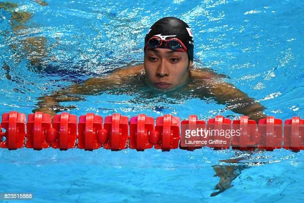 A dejected Kosuke Hagino of Japan after taking the silver medal during the Men's 200m Medley final on day fourteen of the Budapest 2017 FINA World...