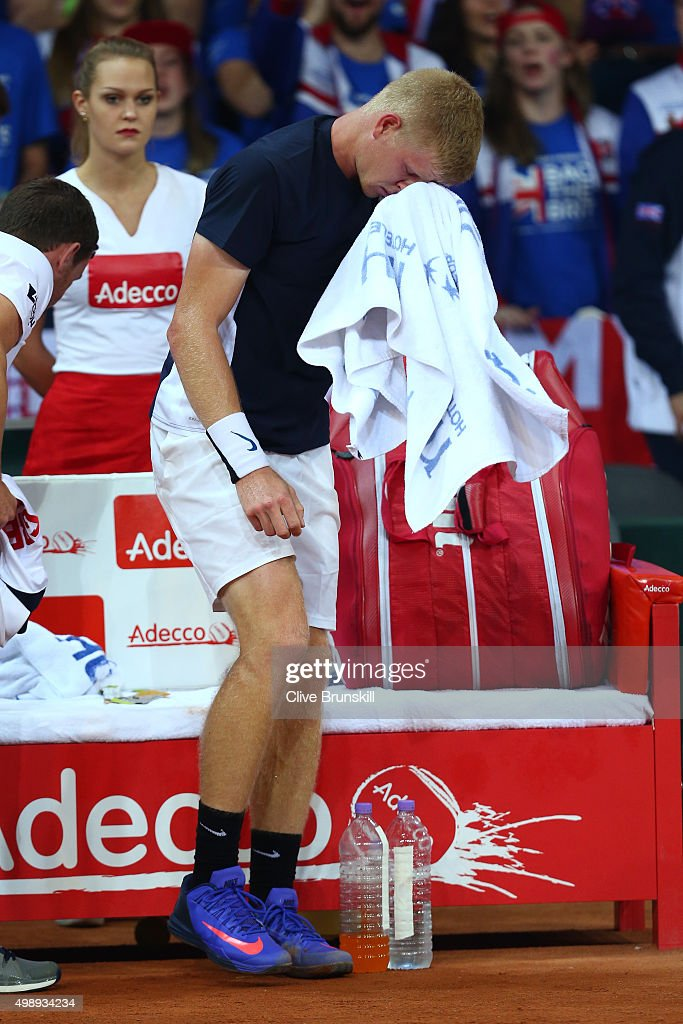 A dejected Kyle Edmund of Great Britain reacts following his defeat during the singles match against David Goffin of Belgium on day one of the Davis Cup Final 2015 at Flanders Expo on November 27, 2015 in Ghent, Belgium.