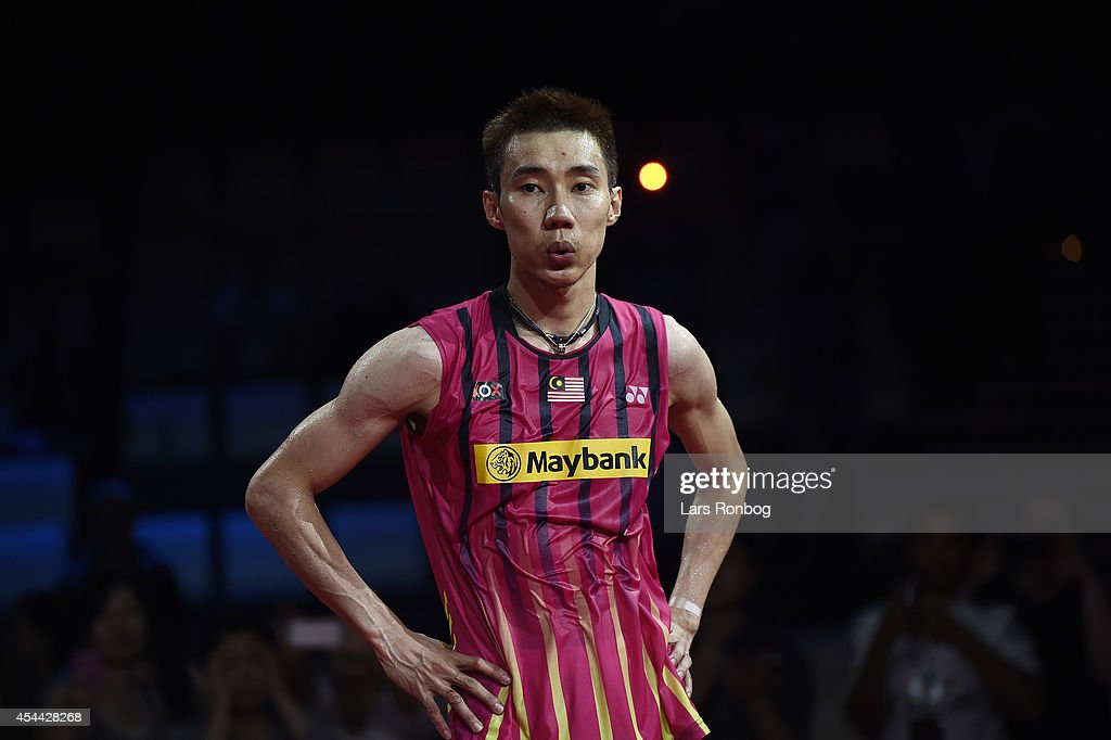 A dejected Lee Chong Wei of Malaysia on the podium after the mens single final against Chen Long of China in the finals during the LiNing BWF World...