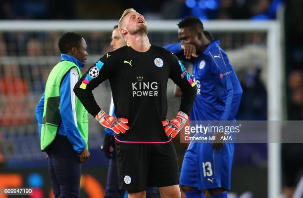 A dejected Leicester City goalkeeper Kasper Schmeichel during the UEFA Champions League Quarter Final second leg match between Leicester City and...