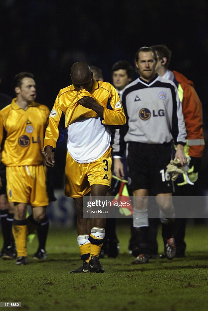 Dejected Leicester City players Frank Sinclair, Ian Walker and Paul Dickov after the Nationwide League Division One match between Gillingham and Leicester City held on January 18, 2003 at the Priestfield Stadium, in Gillingham, England. Gillingham won the match 3-2.