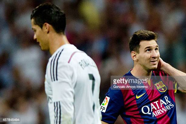 A dejected Lionel Messi of Barcelona during the La Liga match between Real Madrid CF and FC Barcelona at Estadio Santiago Bernabeu on October 25 2014...