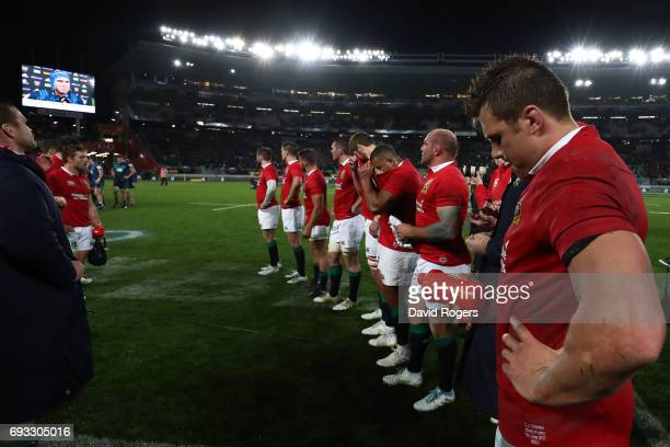 Dejected Lions players look on following their 2216 defeat during the 2017 British Irish Lions tour match between the Blues and the British Irish...