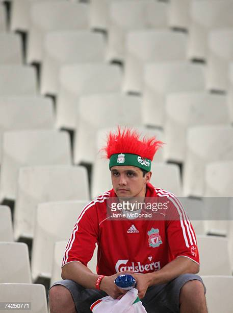 A dejected Liverpool fan looks on followinghis teams 21 defeat during the UEFA Champions League Final match between Liverpool and AC Milan at the...