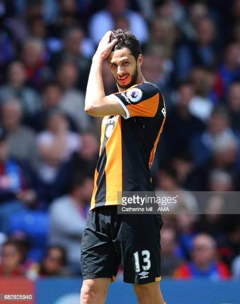 A dejected looking Andrea Ranocchia of Hull City during the Premier League match between Crystal Palace and Hull City at Selhurst Park on May 14 2017...