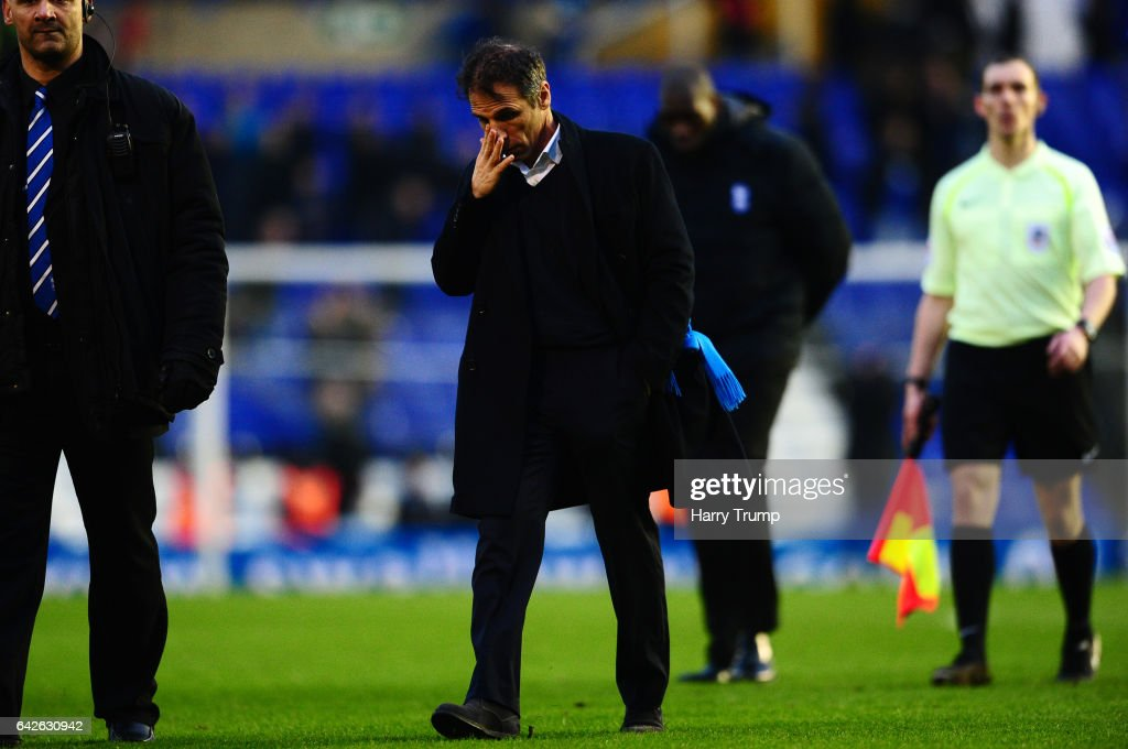 A dejected looking Birmingham City Manager Gianfranco Zola walks off at the final whistle during the Sky Bet Championship match between Birmingham City and Queens Park Rangers at St Andrews Stadium on February 18, 2017 in Birmingham, England.