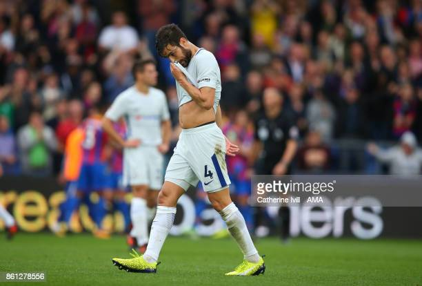 A dejected looking Cesc Fabregas of Chelsea during the Premier League match between Crystal Palace and Chelsea at Selhurst Park on October 14 2017 in...