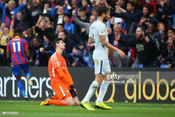 A dejected looking Chelsea goalkeeper Thibaut Courtois after Wilfried Zaha of Crystal Palace scores a goal to make it 21 during the Premier League...