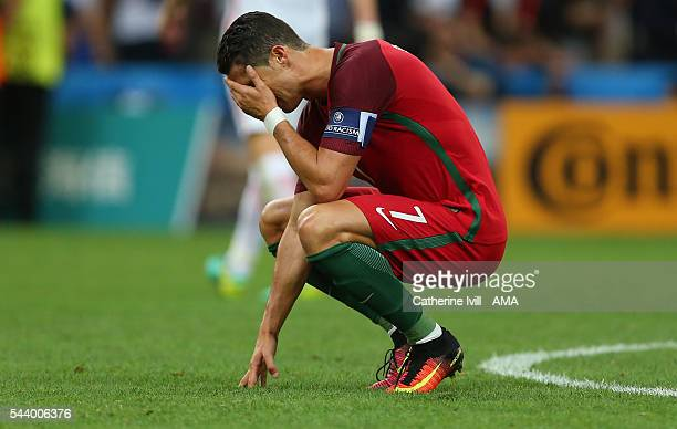 A dejected looking Cristiano Ronaldo of Portugal during the UEFA Euro 2016 quarter final match between Poland and Portugal at Stade Velodrome on June...