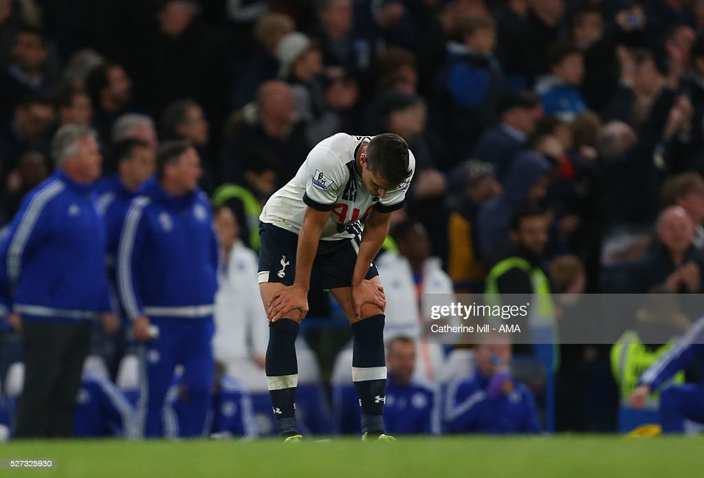 A dejected looking Erik Lamela of Tottenham Hotspur during the Barclays Premier League match between Chelsea and Tottenham Hotspur at Stamford Bridge on May 2, 2016 in London, England.