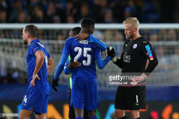 A dejected looking Leicester City goalkeeper Kasper Schmeichel shakes hands with his team mates after the UEFA Champions League Quarter Final second...