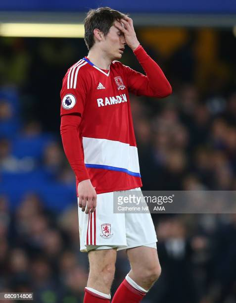 A dejected looking Marten de Roon of Middlesbrough during the Premier League match between Chelsea and Middlesbrough at Stamford Bridge on May 8 2017...