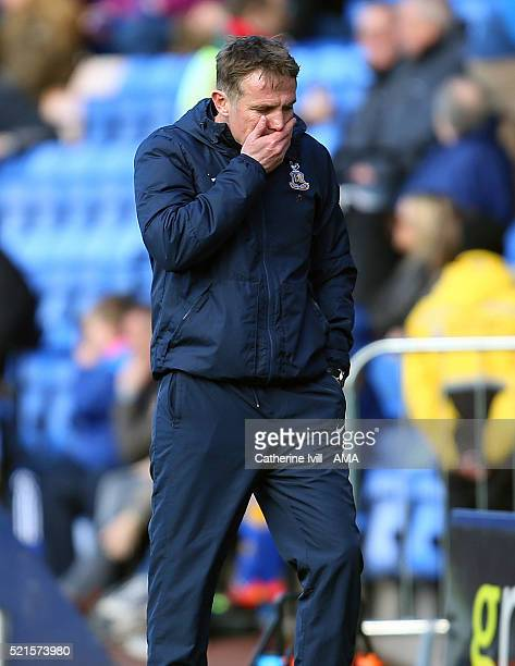 A dejected looking Phil Parkinson manager of Bradford City during the Sky Bet League One match between Shrewsbury Town and Bradford City at New...