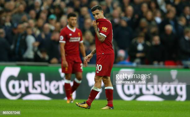 A dejected looking Philippe Coutinho of Liverpool during the Premier League match between Tottenham Hotspur and Liverpool at Wembley Stadium on...