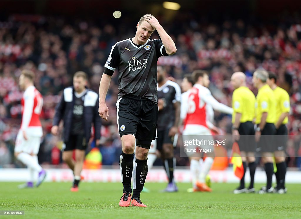 A dejected looking Robert Huth of Leicester City after the Premier League match between Arsenal and Leicester City at Emirates Stadium on February 14, 2016 in London, United Kingdom.
