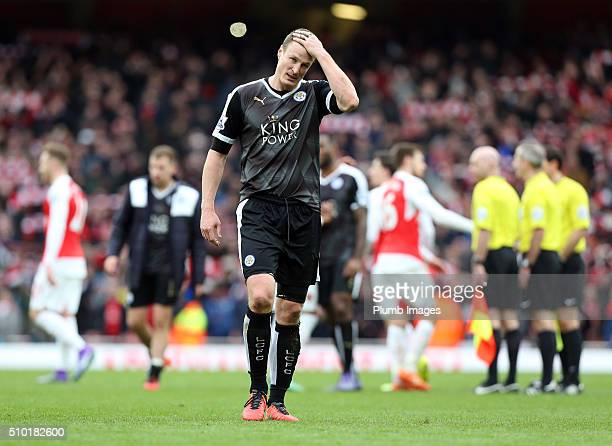 A dejected looking Robert Huth of Leicester City after the Premier League match between Arsenal and Leicester City at Emirates Stadium on February 14...