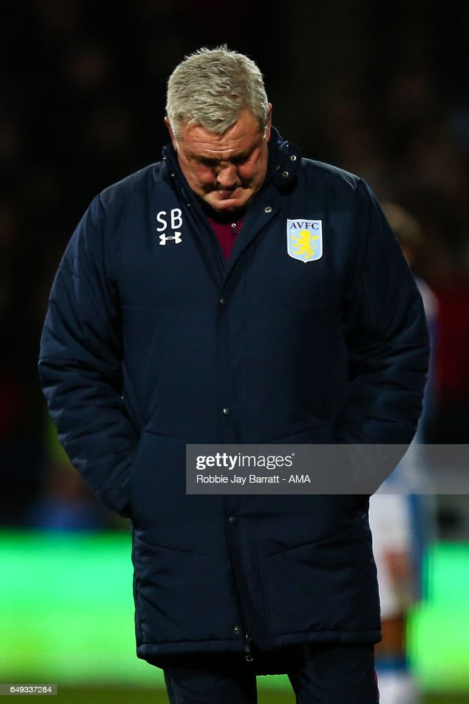 A dejected looking Steve Bruce head coach / manager of Aston Villa during the Sky Bet Championship match between Huddersfield Town and Aston Villa at John Smith's Stadium on March 7, 2017 in Huddersfield, England.