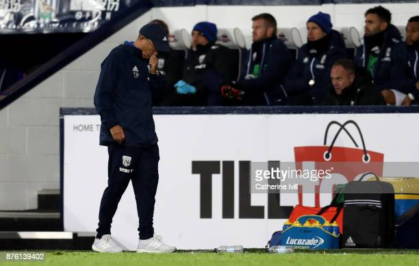 A dejected looking Tony Pulis manager of West Bromwich Albion during the Premier League match between West Bromwich Albion and Chelsea at The...